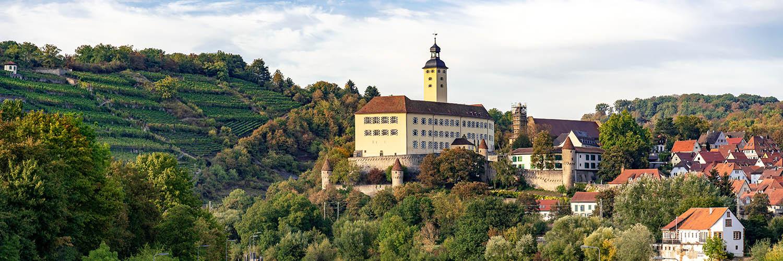 Gundelsheim Schloss Horneck und Schleuse